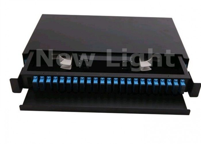 19 Inch Rack Mount Enclosure , 24 Port Fiber Optic Distribution Box For Cable Terminal
