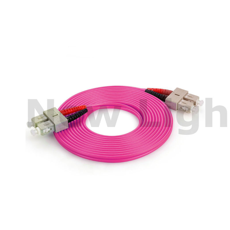 SC - SC multi mode optical fiber patch cord duplex  red / black boot OM4 50/125