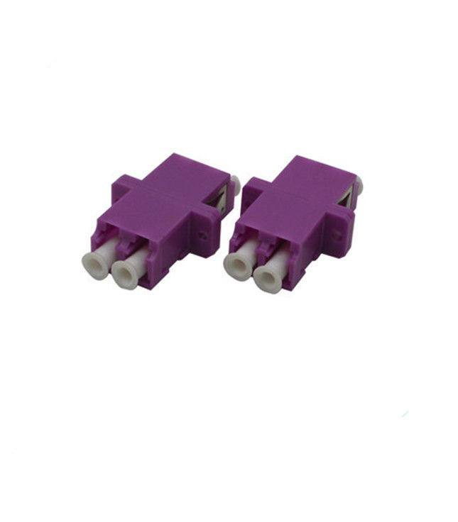 Purple Optical Cable Adapter / OM4 LC Duplex Adapter With Clips Small Size