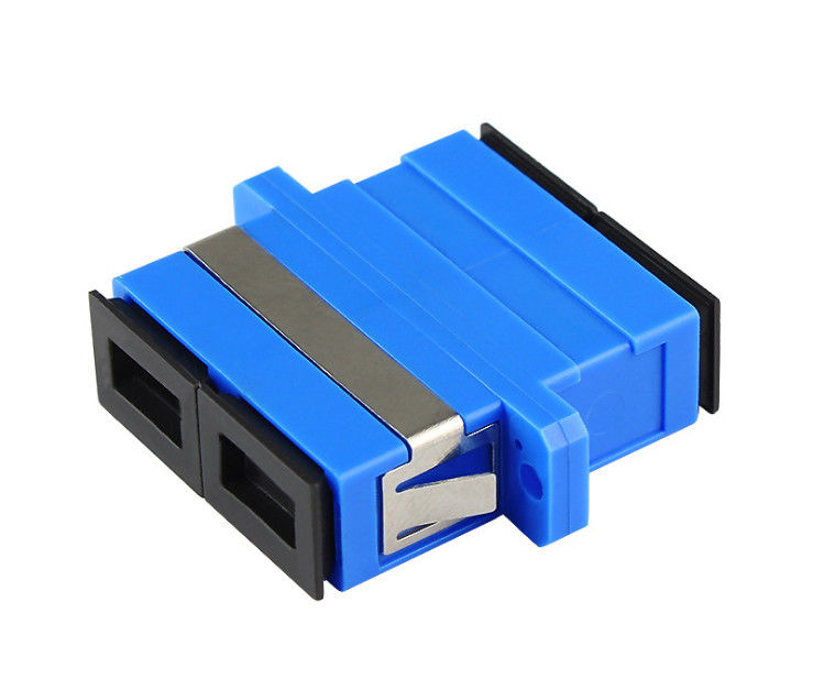 Single Mode Fiber Optic Adapter / SC Duplex Adapter With Clips Plastic Material