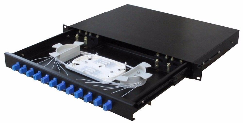 1U 19 Inch  SC Fiber Optic Distribution Frame SC UPC Pigtail Distribution Box