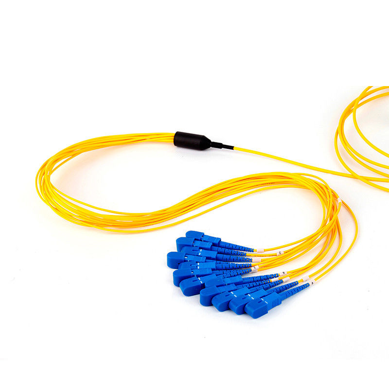 SC UPC Single Mode Fan Out Optical Fiber Patch Cord 12 Fiber Customized Length