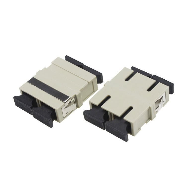 Beige Color Fiber Optic Adapter For SC Patch Cord / Telecommunication Internet