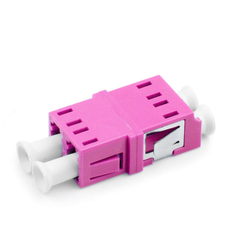 Rose Color OM4 Fiber Optic Adapter For Duplex LC Patch Cords