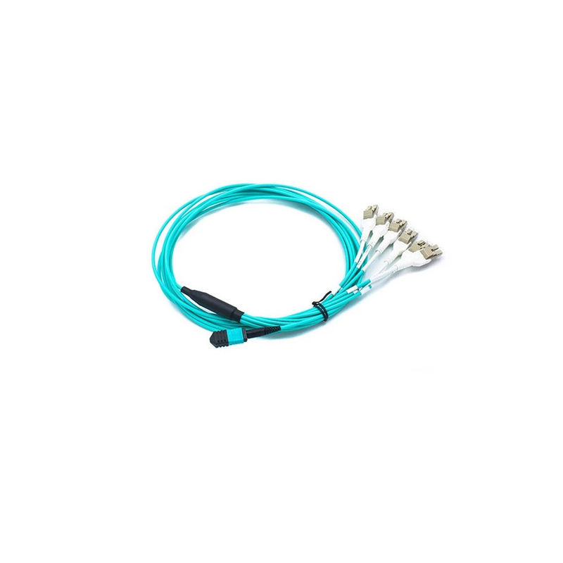 4 Duplex MPO MTP Cable , Customized Length Breakout Fiber Optic Cable With Aqua Color