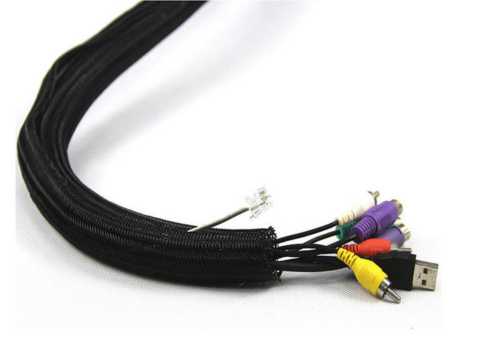 Fireproof Protection Net Fiber Optic Tools Black PET / Nylon Flame Retardant Cable Sleeve