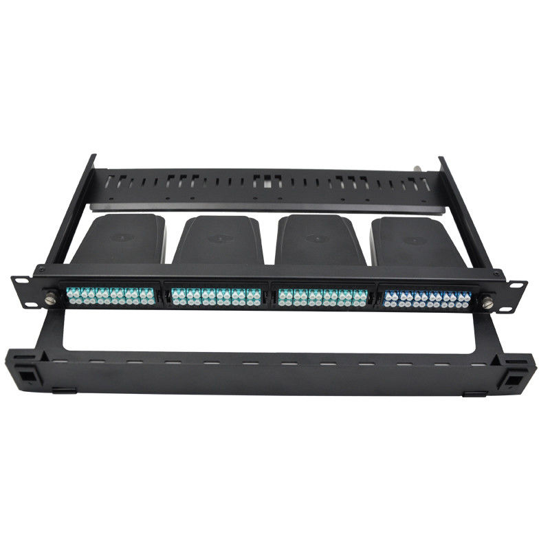 1U rack mount FHD fiber optic patch panel , holds up to 4x MTP-8 cassettes