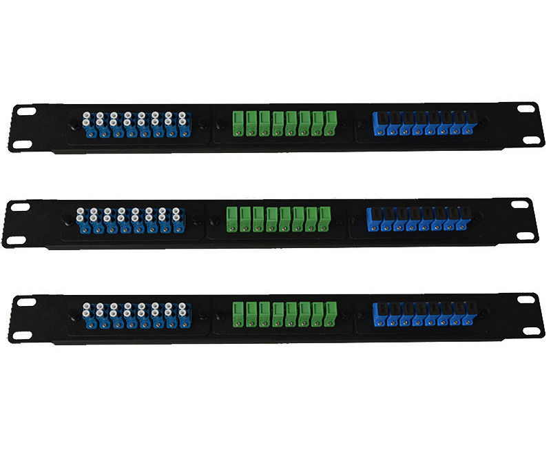 Cold Rolled Steel FTTH Fiber Optic Patch Panel LC SC E2000 For 1U Distribution Frame