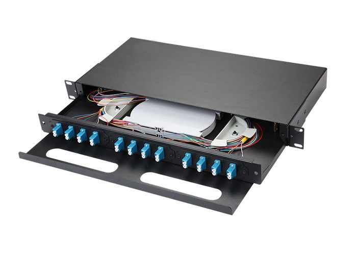 Pulling Type Single Mode Fiber Patch Panel , 1u Cold Rolled Steel Fiber Optic Cable Patch Panel